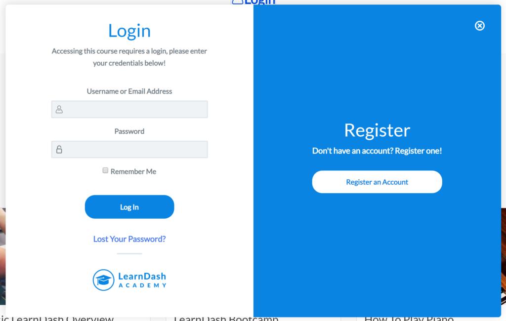 LearnDash pop-up modal login and registration